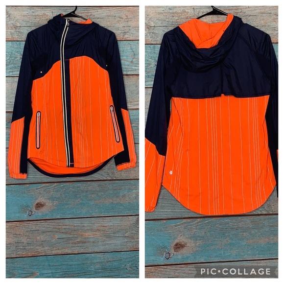 Lululemon Run Get Up And Glow Jacket 6 Orange Blue